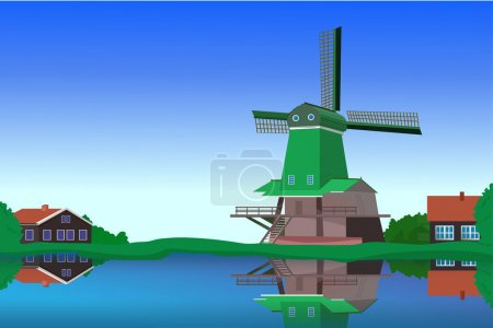 Illustration for The quiet atmosphere of a rural landscape overlooking water and a mill in Europe - Royalty Free Image