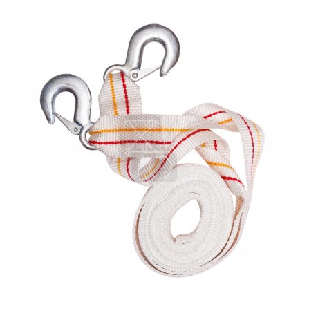 Towing rope with metal hooks isolated on a white