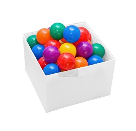 plusieurs balles en plastique de couleur en boîte sur blanc