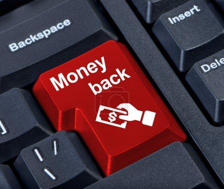Photo pour Bouton de retour de l'argent avec la main et de l'argent. - image libre de droit