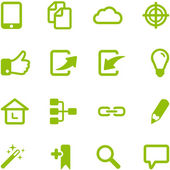Set of bright green vector icons
