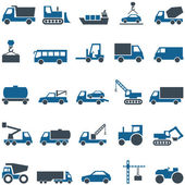 Vector icons of construction and trucking industry