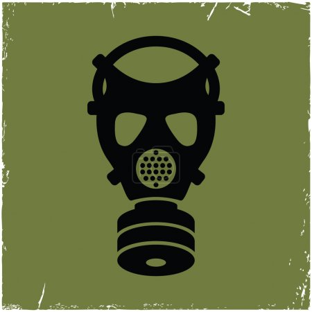 Illustration for Gas mask on old background with effect of scratches. Concept of security threats. - Royalty Free Image
