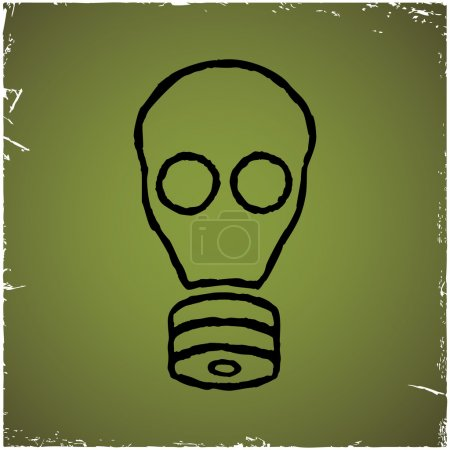 Illustration for Gas mask on old scratched background. Concept of chemical, biological and radioactive threats. - Royalty Free Image