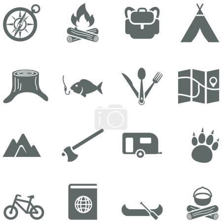 Set of vector icons for tourism, travel and camping.