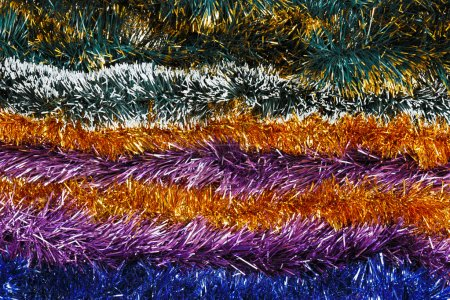 Photo for Christmas tinsel multicolored decoration background - Royalty Free Image