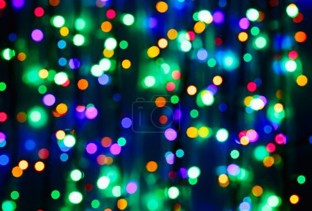 Photo pour Multicolor bokeh circle background (illumination garland decoration) - image libre de droit
