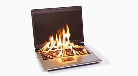 Burning notebook with big red flame