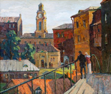 The city landscape of Vitebsk drawn with oil on a canvas