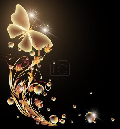 Glowing background with flowers and butterfly