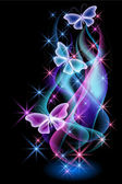 Glowing background with smoke and butterflies