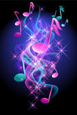 Glowing background with musical notes smoke and stars