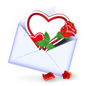 Open envelope with red rose and heart