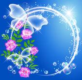 Transparent butterflies bubbles and flowers