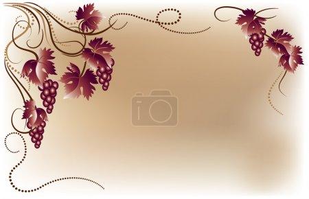 Illustration pour Ornement de raisins de vigne - image libre de droit