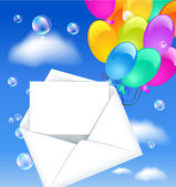 Open envelope with colorful balloons and letter in the clouds sky