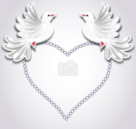 Two pigeons and heart