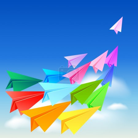 Illustration for Colorful paper airplanes flying in the sky - Royalty Free Image