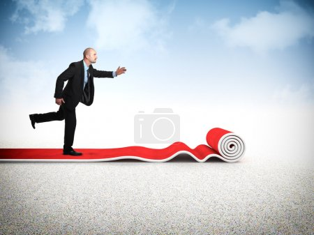 Photo for Businessman run on 3d red carpet - Royalty Free Image