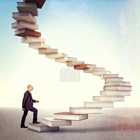 Photo for Young businessman go up on 3d books stair - Royalty Free Image