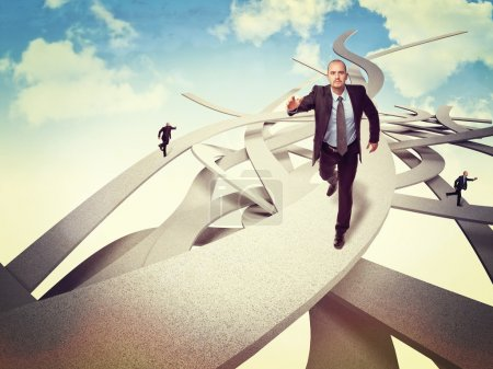 Photo for Businessman run on abstract ways - Royalty Free Image