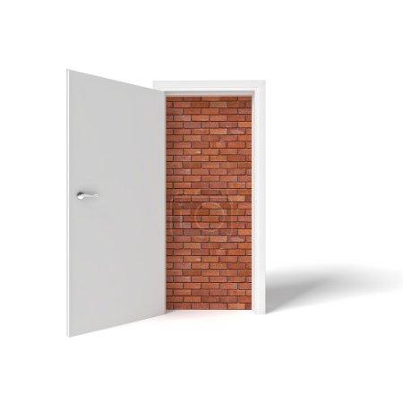 Photo pour Image 3D de la porte blanche et du mur de briques - image libre de droit