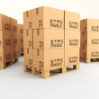 3d image of pallets with classic boxes...
