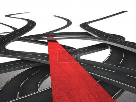 Photo pour Image 3D de différentes rues et tapis rouge - image libre de droit
