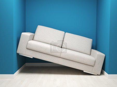 Photo pour Image 3D de sofa en cuir dans l'espace étroit - image libre de droit