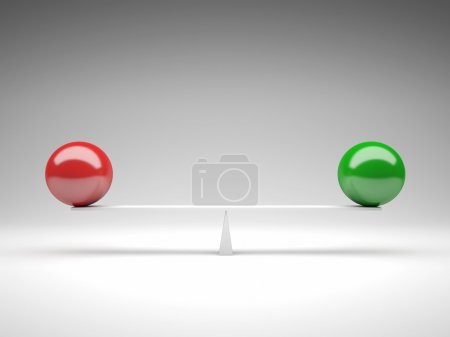 Photo for 3d image of green and red ball on balance - Royalty Free Image