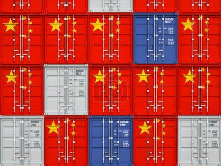 Photo pour Image 3D du conteneur classique avec le drapeau de la Chine - image libre de droit