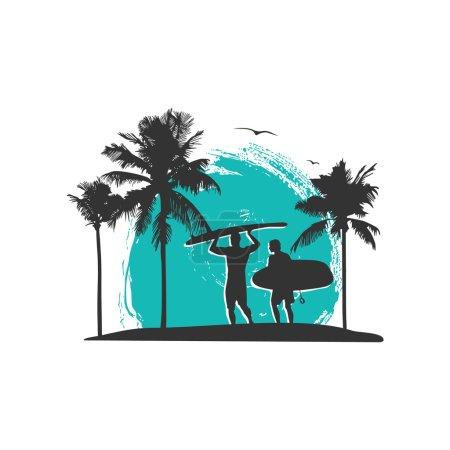 surfing theme vector design