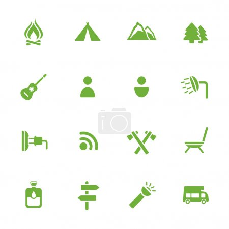 Illustration for Camping icons - Royalty Free Image