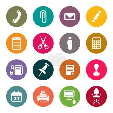 Illustration pour Ensemble d'icônes fournitures de bureau - image libre de droit