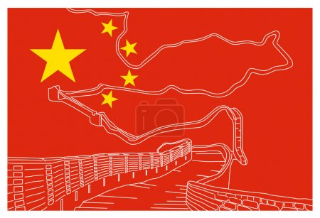 Chinese flag with great wall sketch