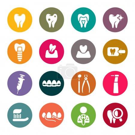 Illustration pour Icônes de thème dentaire - image libre de droit
