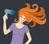 redheaded woman with hairdryer