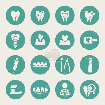 Illustration pour Ensemble d'icônes dentaires - image libre de droit