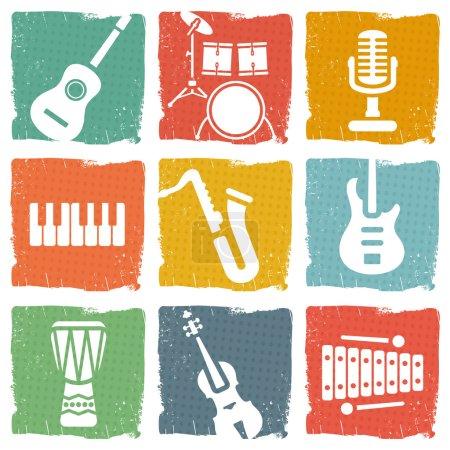 Illustration pour Ensemble d'icônes instruments de musique - image libre de droit