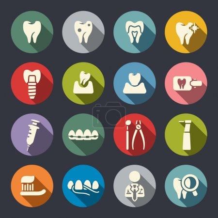 Illustration pour Thème dentaire icônes plates - image libre de droit