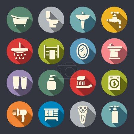 Bathroom flat icon set