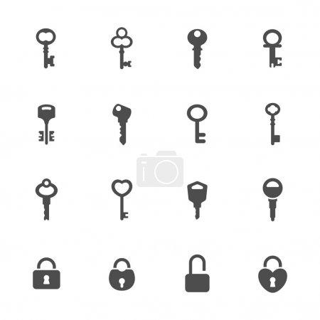 Illustration pour Jeu de l'icône de clé - image libre de droit