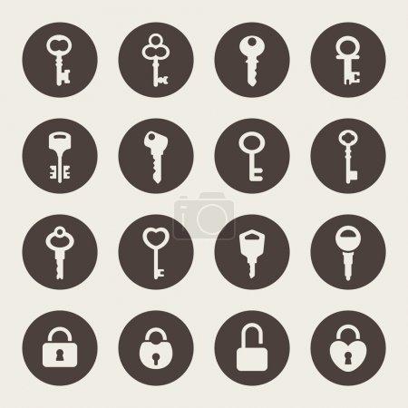 Illustration pour Ensemble d'icône clé - image libre de droit
