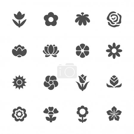 Illustration for Flower icon set - Royalty Free Image