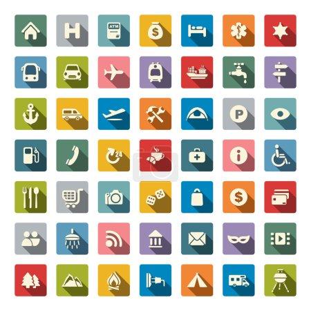 Illustration pour Icônes de carte de voyage - image libre de droit