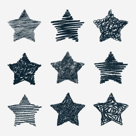 Illustration for Hand drawn stars vector set - Royalty Free Image