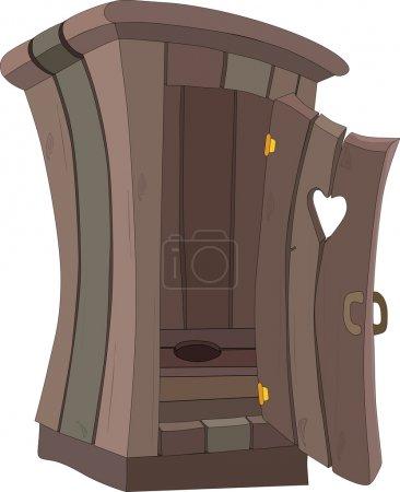 Illustration pour Toilettes en bois avec une porte avec coeur - image libre de droit