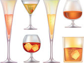 Set of different glasses for alcohol