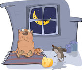 About a cat and a mouse A meeting Cartoon