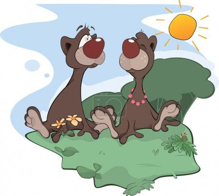 Illustration for Two enamoured brown bears sitting on a glade - Royalty Free Image